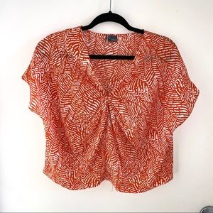 Urban Outfitters Orange & White Printed Top